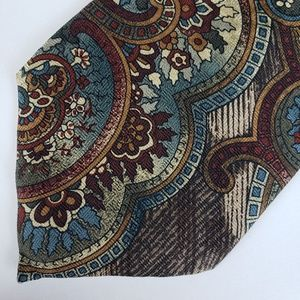 Stafford Mens Necktie Abstract Paisley Brown